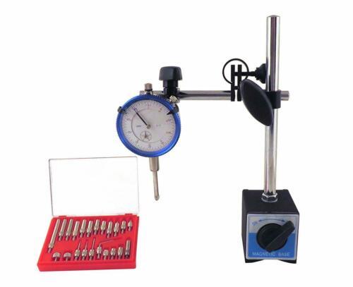 Magnetic Base w/ Fine Adjustment, SAE Dial Test Indicator & 22Pc Anvil Point Set