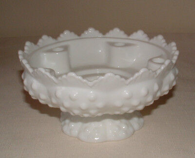 FENTON WHITE MILK GLASS HOBNAIL CANDLE HOLDER WITH PEDESTAL