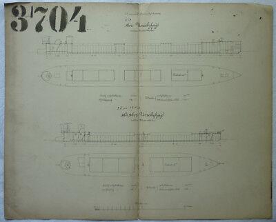 SCHIFFSBAUPLAN SCHIFF von 1869 ca. 43 x 34 cm RARITÄT
