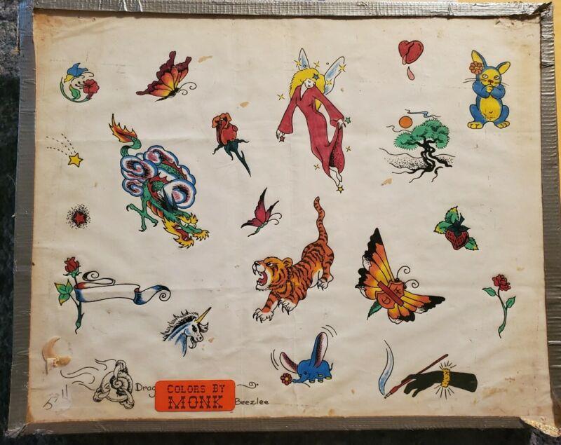 vintage 80s dragonmoon tiger flower unicorn produx tattoo flash colors:monk