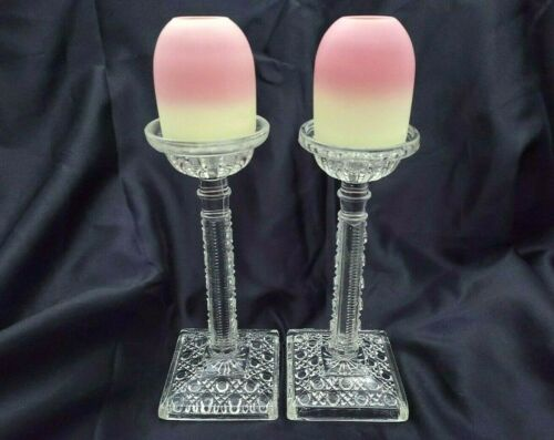 1880s Pair of Webb Burmese Pyramid Domes Cut Class Standards Fairy Lamp/Light