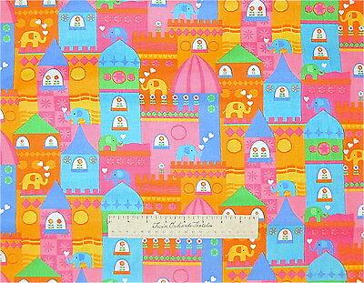 Fabric Elephant Shower Heart Pink Blue Green Timeless Treasures Cotton Yard