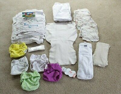 Lot of ONE SIZE cloth diaper covers, liners, wet bag, wipes, snappis, Flip +++