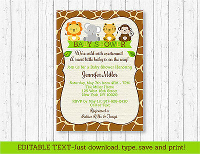 Cute Jungle Safari Animals Printable Baby Shower Invitation Editable PDF](Cute Baby Shower Invitations)