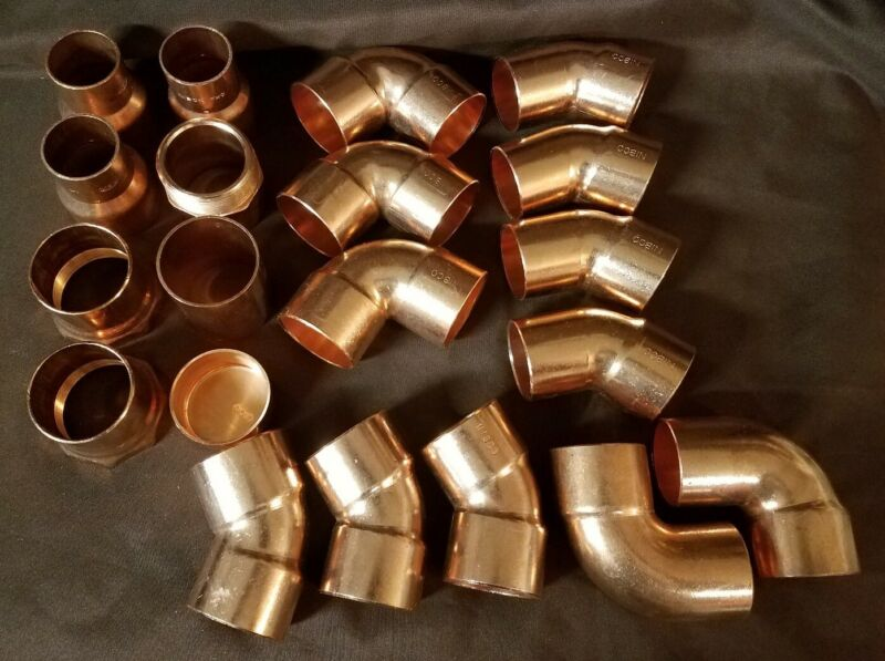 "20 Wrot Copper 2"" Fittings 45,90,Coupling, Adapter,Cap, Sweat"