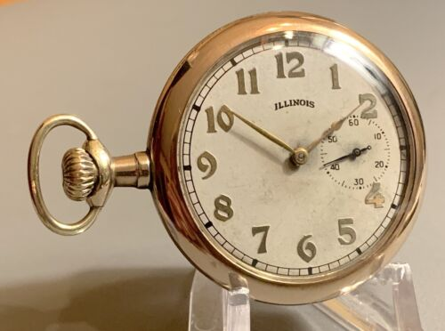 LEFT HAND WINDING 12s ILLINOIS 19 Jewels Gr 406~ADJUSTED~DOUBLE ROLLER~GILT TRIM