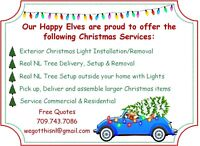 Christmas light installation and real tree delivery/setup