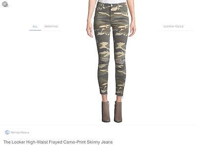 MOTHER High Waisted Looker Ankle Fray See Me Camo Jeans Pants Sz 30 Retails $208