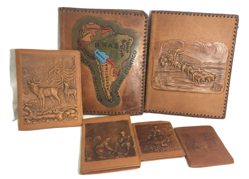 Vintage Hand Tooled Embossed Leather Binders Wallets Notepad Covers Lot