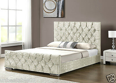 Diamond Upholstered Fabric Bed Frame Velvet Chenille