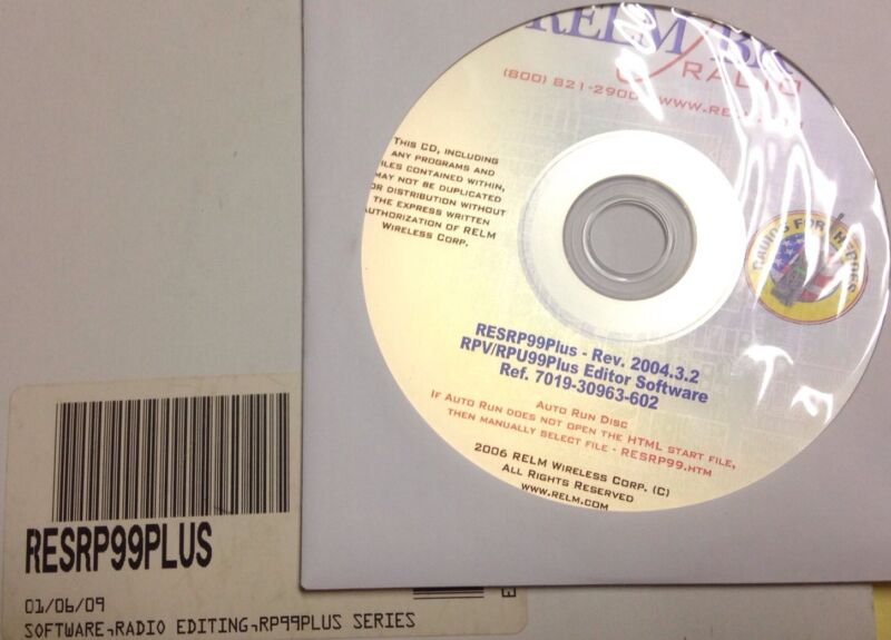 Relm RESRP99 Plus Programming Software RPV599A Plus RPU499A Plus RPV RPU Plus