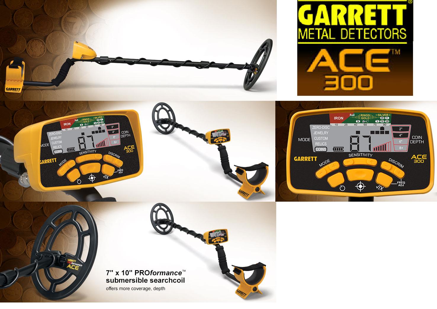 "Garrett Ace 300 Metal Detector & 7 x10"" DD Waterproof Coil,"