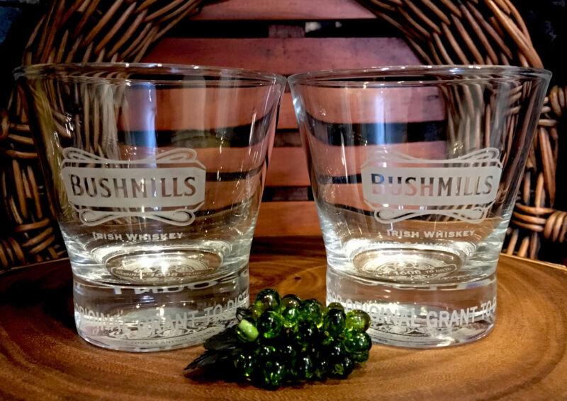Rare  BUSHMILLS Irish Whiskey 400 Years of Tradition Rocks Glasses (2) PRISTINE!