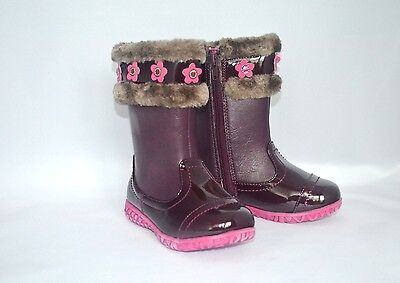 Laura Ashley Toddler Girls Boots SIZE 7 Burgundy Faux Fur Pink Flowers Zipper
