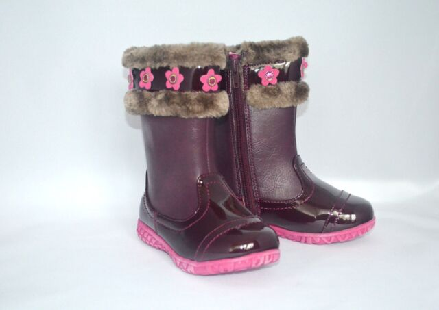 Laura Ashley Toddler Girls BOOTS Size 9 Burgundy Faux Fur Pink ...