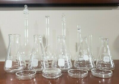 Mixed Lot Lab Glassware Used Pyrex Kimax Volumetric Erlenmeyer Flasks