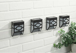 4x Black Modern Solar Powered LED Outdoor garden wall mounted Wall Patio Light