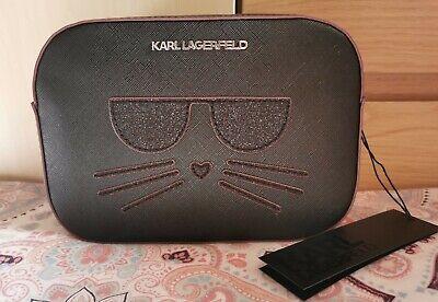 KARL LAGERFELD Sphynx Choupette Cat Black Glitter Crossbody Shoulder Bag