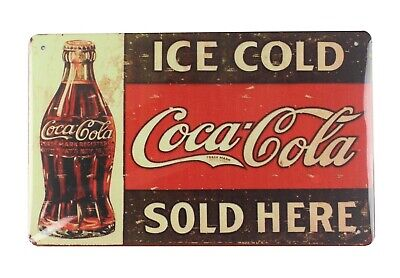US SELLER, clearance home decor Ice Cold Coca Cola tin metal sign