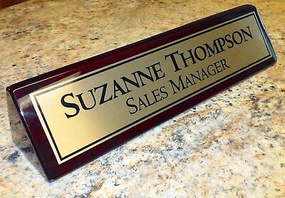 Desk name plate rosewood piano finish desk wedge with gold aluminum -