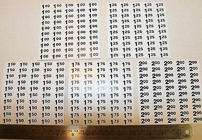 Vending Machine Price Label Stickers - 1.00 1.25 1.50 1.75 2.00 Labels