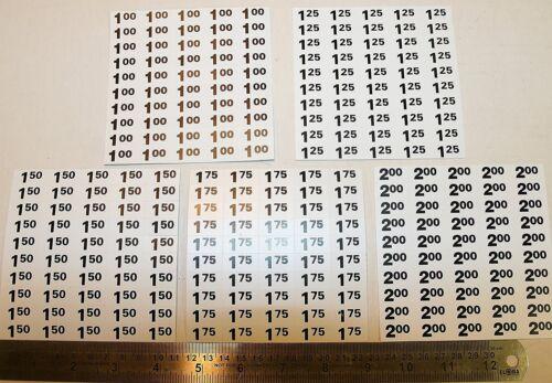 Vending machine price label stickers - $1.00, $1.25, $1.50, $1.75 & $2.00 labels