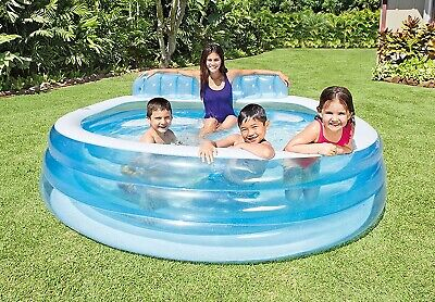 """Intex Swim Center Inflatable Family Lounge Pool, 90"""" X 86"""" X 31"""" *NEW IN HAND*"""