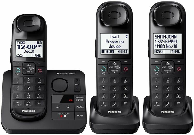 Panasonic KX-TG3683B Dect 6.0 3-Handset Landline Telephone, Black