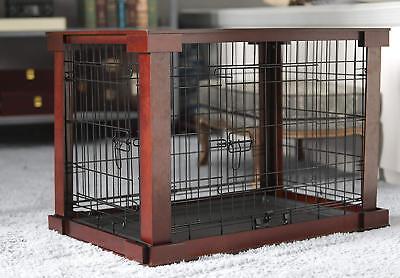 Medium Size Dog Crate End Table Metal Side Wooden Top Side Sofa Indoor Kennel