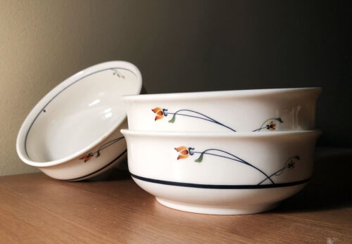 3 dcd 1980s country-style gorham lidsay town & country soup/coupe cereal bowls