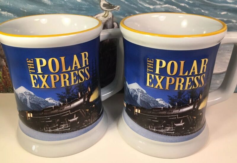 NEW SET 2 Polar Express Coffee Mugs Raised Train 4.5H Official Polar Express Mug