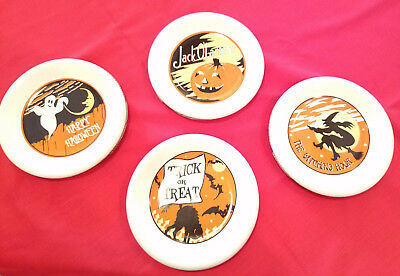 New Pottery Barn Halloween Dessert Plates Vintage 40's Set of 4 w Fast Shipping](Pottery Barn Halloween Plates)