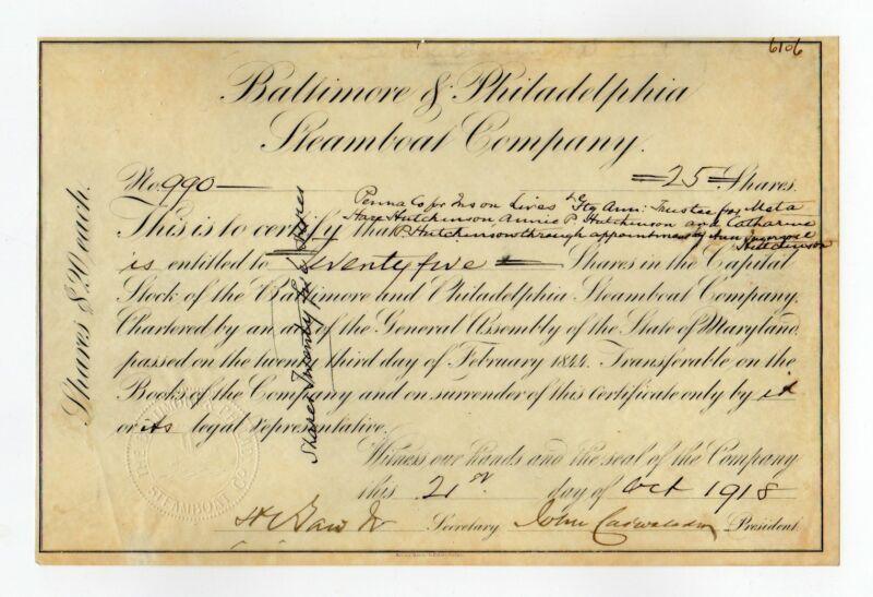1918 Baltimore & Philadelphia Steamboat Co. Stock Certificate