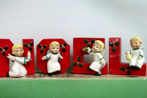 Vintage 1956 Napco Happy Yuletide Quartet NOEL Angel Candle Holders Original Box
