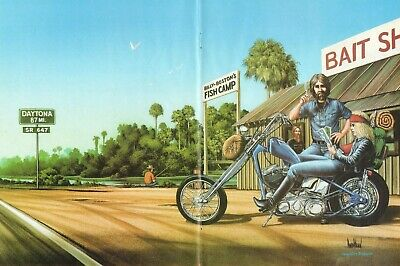 """1983 Vintage David Mann """"Pit Stop At The Bait Shack"""" 16x20 Matted Motorcycle Art"""