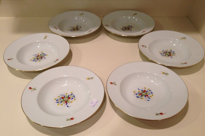 """Hochst """"Strawberries and Bows"""" Set of 6 Bowls Made In Germany New"""