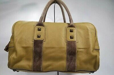FALOR FIRENZE ITALY Purse Duffle Tote Mustard Yellow Canvas Leather Stud Rocker