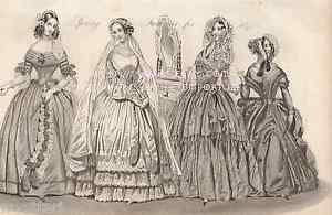 Spring-Fashion-Victorian-Wedding-Dress-Paris-Lady-1842-ANTIQUE-VINTAGE-ART-PRINT