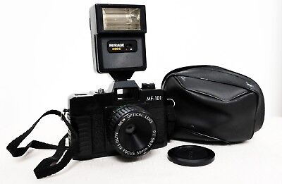 Vintage MF-101 35mm film point and shoot camera with flash lomo retro