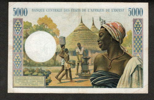 WEST AFRICAN STATES, IVORY COAST ND 1961-1965 5000 FRANCS, P104A