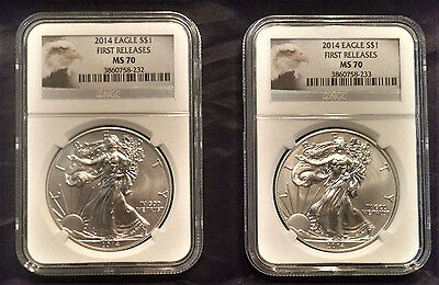 2014 Eagle S 1 First Rel Ms 70 Ngc Cert  3860758 232   233 Price Is For One Coin