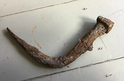 "Large 11""-12"" Antique Vintage Nail Stake Bent Rusty Crusty"