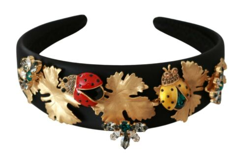 DOLCE & GABBANA Headband Tiara Black Floral Ladybug Crystal Diadem RRP $1600