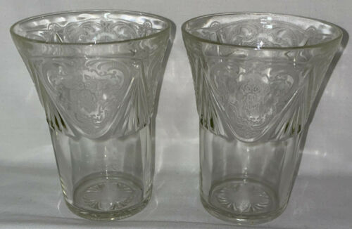"2 Hazel Atlas ROYAL LACE CRYSTAL *4 1/8"" - 9 OZ  WATER TUMBLERS*"
