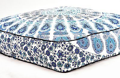 Indian Dog Bed Peacock Mandala Printed Cotton Ottoman Pets Bed White Cushion Bed