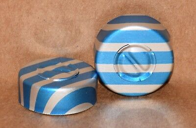 20mm Aluminum Center Tear Serum Vial Seals Blue Stripe - Qty. 50