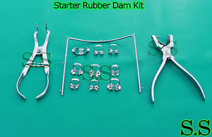 New Rubber Dam Starter Kit of 13 Pcs with Frame Punch Clamps Dental Ins DN-2138