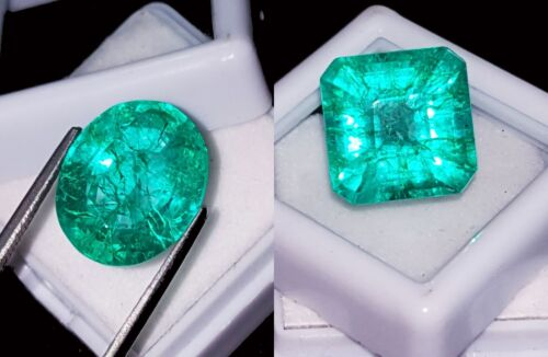 8 to 10 Cts Certified Natural Emeralds Loose Gemstones 2 Pieces RK52