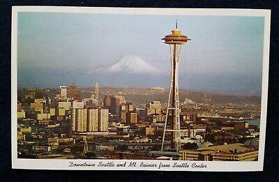 Downtown Seattle Center Mount Rainier Space Needle Washington WA Wash 1960