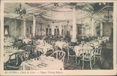 Postcard Shipping Ocean liners S.S Roma upper Dining Saloon Unposted